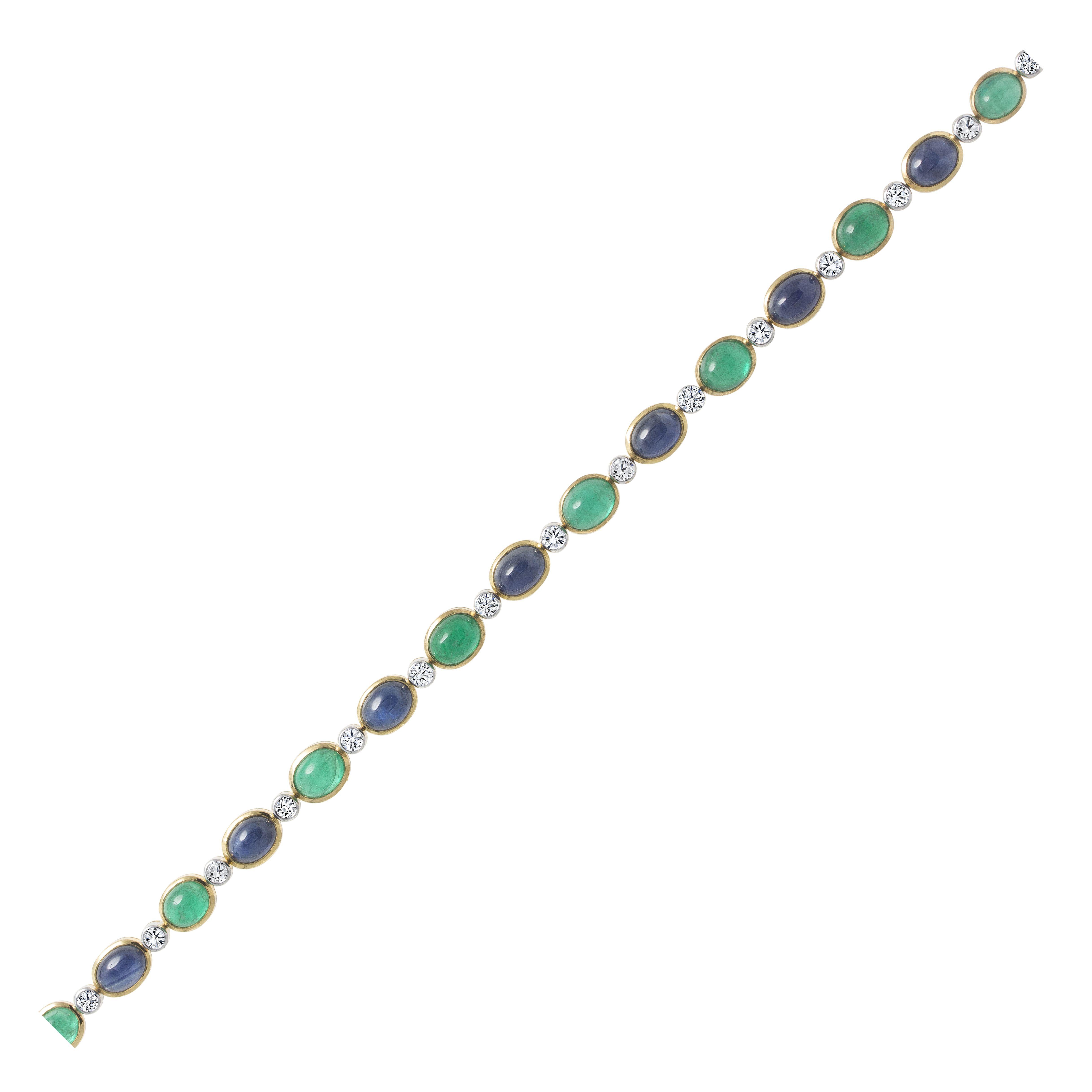 Sapphire Emerald Diamond Bracelet