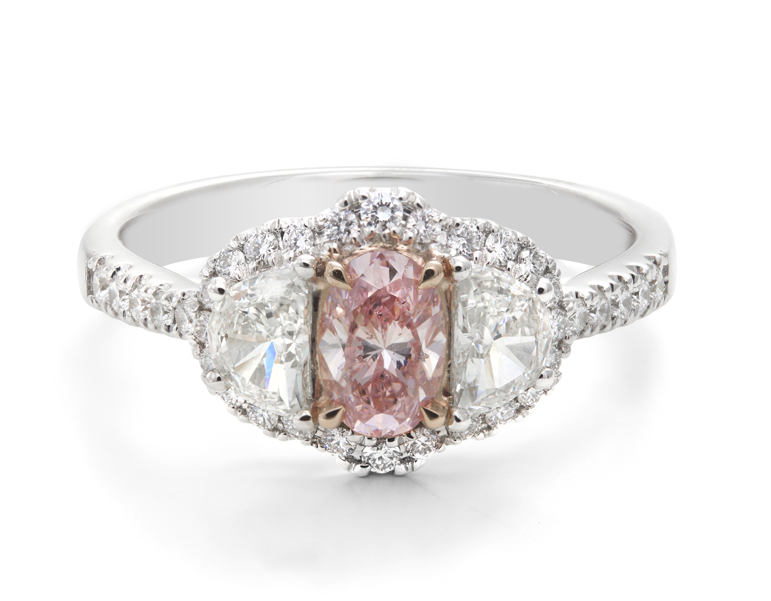 White & Pink Diamond Ring